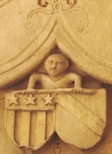 Les armoiries de la famille de La Sarra sur un linteau au château de la Sarraz.